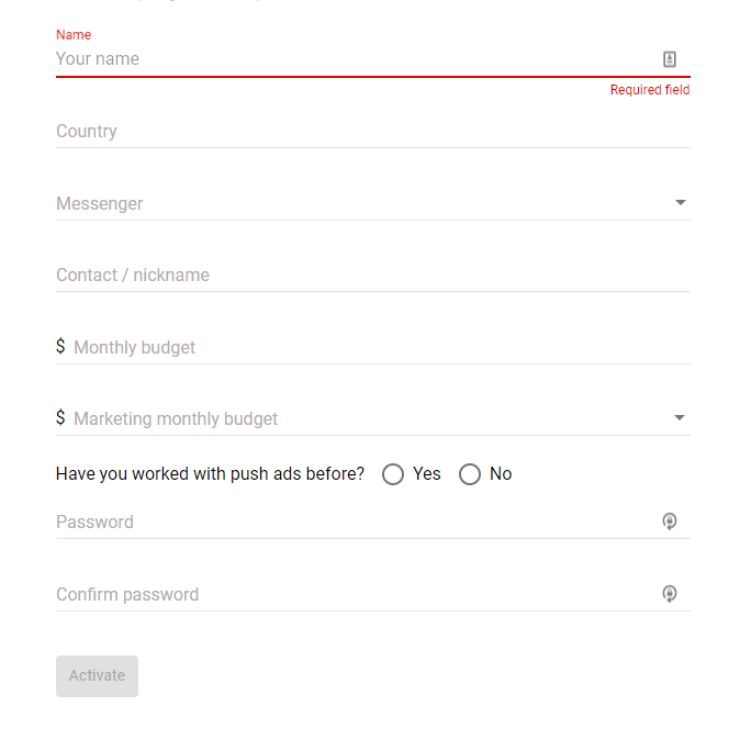 How to setup profile on RichPush?