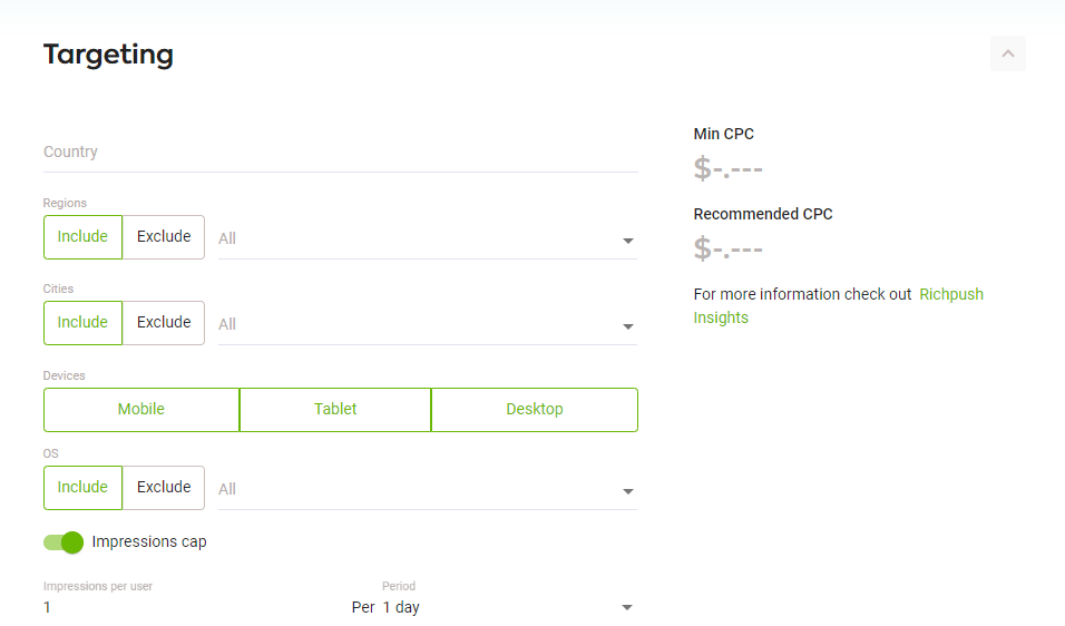 Targeting audience on RichPush