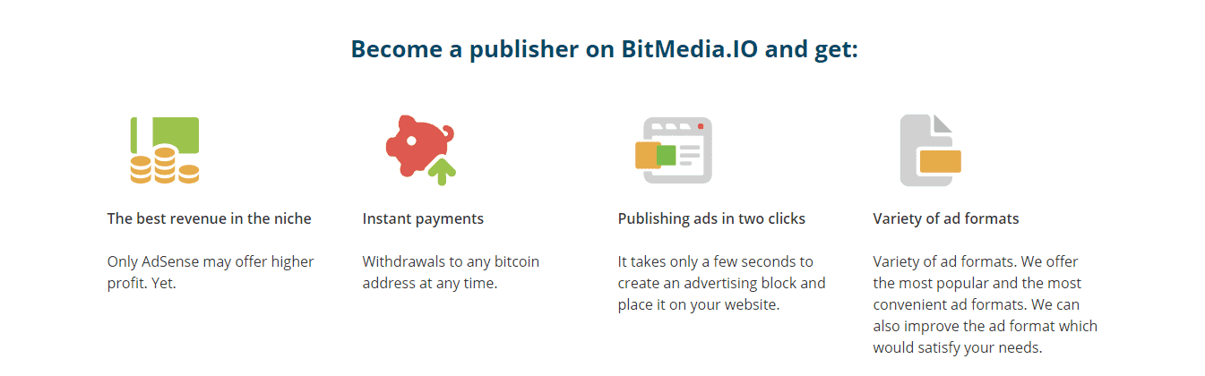 Bitmedia features for publishers