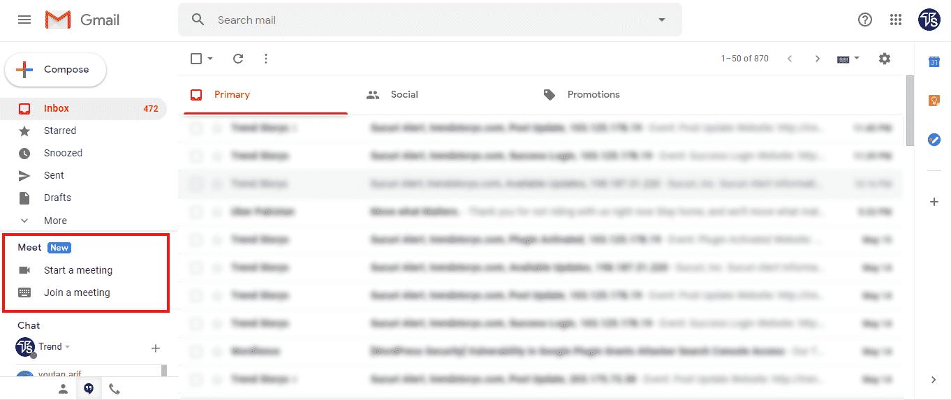Google Meet on Gmail