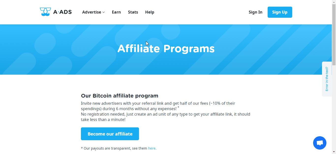 A-Ads Affiliate Program