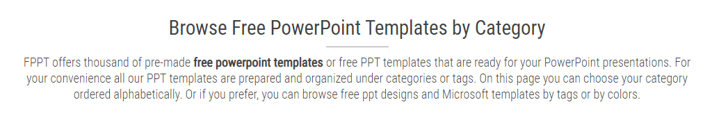 PowerPoint Templates Categories