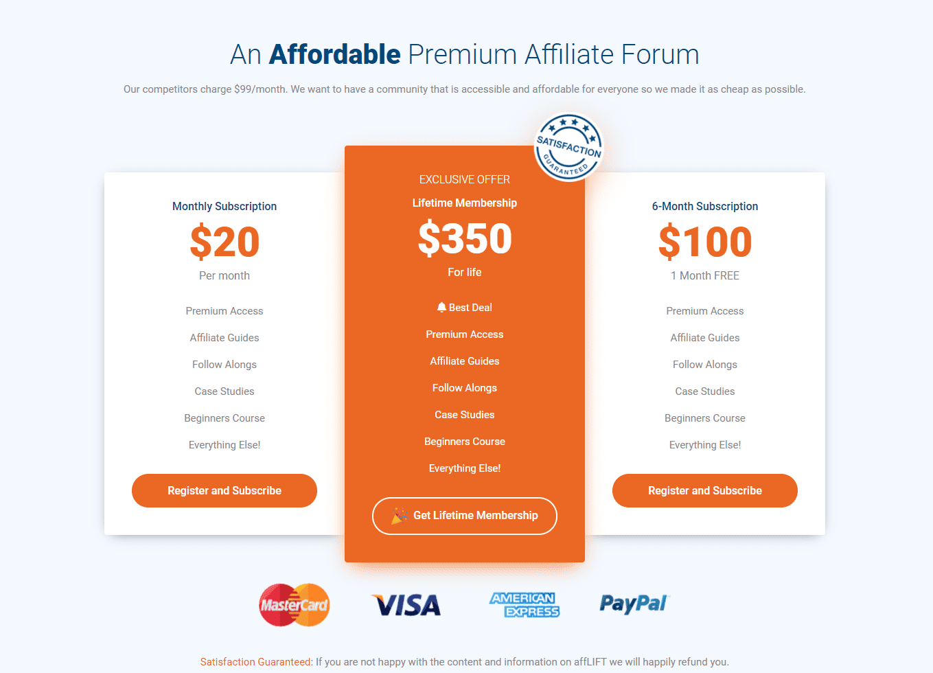 affLIFT Pricing
