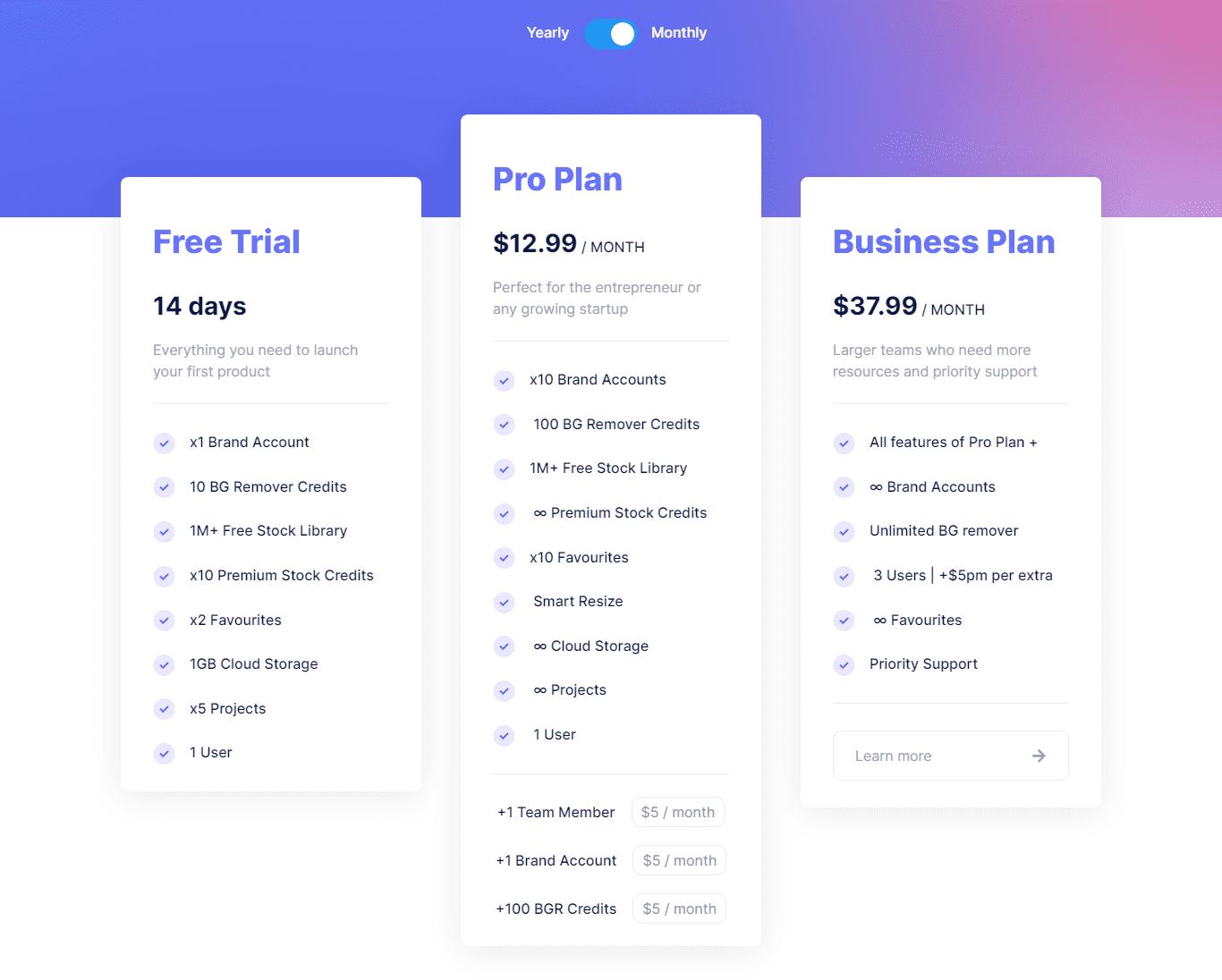Glorify App Pricing