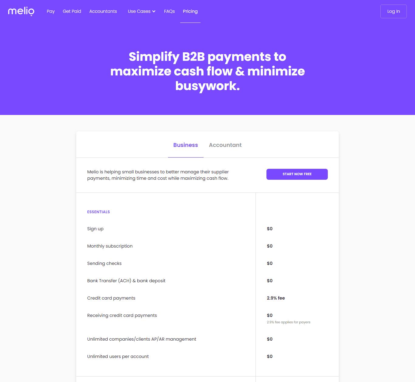 Melio Pricing